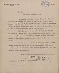 """Carta de Mariano Rodríguez de Rivas a Guillermo Fernández-Shaw, agradeciéndole su carta y elogiando la labor que él y su hermano Casto realizan en la revista """"Cortijos y Rascacielos""""."""
