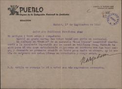"""Carta de Rafael Ortega Lissón a Guillermo Fernández-Shaw, sobre la crítica que aquél ha hecho de """"Loza lozana""""."""