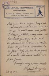 Carta de Rafael Marquina a Guillermo Fernández-Shaw, pidiéndole una entrevista.