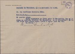Cartas de Manuel Barbadillo a Guillermo Fernández-Shaw, pidiéndole unas líneas para un libro que escribe sobre el vino Manzanilla.
