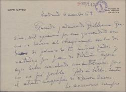 Carta de Lope Mateo a Guillermo Fernández-Shaw, agradeciéndole el regalo de dos discos con poesías de su padre, Carlos Fernández Shaw.
