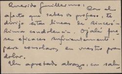 Tarjeta de visita de Fernando de Lapi a Guillermo Fernández-Shaw, dándole el pésame.