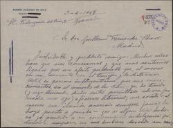 Carta de Andrés Vázquez de Sola a Guillermo Fernández-Shaw, pidiéndole su apoyo para Pedro Soler, un joven actor.