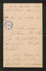 Carta de Juan de Macías y del Real a Guillermo Fernández-Shaw, felicitándole por sus éxitos teatrales.