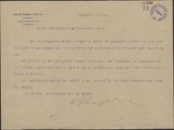 Carta de Isidro Pérez y Oliva a Guillermo Fernández-Shaw, felicitándole por un triunfo teatral.