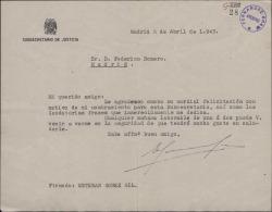 Carta de Esteban Gómez Gil a Federico Romero, agradeciéndole una felicitación con motivo de un nombramiento.