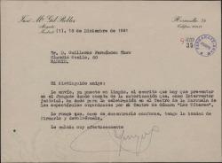 Carta de José María Gil Robles a Guillermo Fernández-Shaw, remitiéndole para su devolución firmado un escrito que hay que presentar en el juzgado.