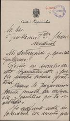 Carta de Salvador Almela, Alcalde de El Escorial, a Guillermo Fernández-Shaw, manifestándole su gratitud en nombre del ayuntamiento y del pueblo.