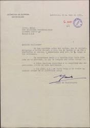Carta del Conde de Montefuerte a Guillermo Fernández-Shaw, remitiendo dos cartas para su hijo Carlos desde Estocolmo y enviando cariñosos recuerdos.