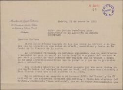 Carta de Federico Oliván a Carlos Fernández-Shaw Baldasano sobre la recomendación pedida a favor de su hermano Felix Guillermo Fernández-Shaw.