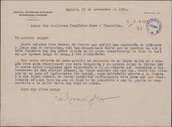 Carta de Manuel González-Hontoria a Guillermo Fernández-Shaw, comentándole su mal estado de salud y dándole el pésame por la muerte de su madre.