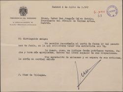 Carta de José Diaz de Villegas a Joaquín Calvo Sotelo, solicitando una entrevista.