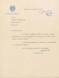 Carta de Rafael Morales, embajador español, a Guillermo Fernández-Shaw, dándole el pésame por la muerte de su hermano Daniel.