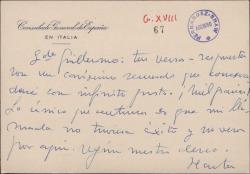 Tarjeta del Conde de Rabago a Guillermo Fernández-Shaw, agradeciendo unos versos.
