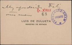 Tarjeta de visita de Luis de Zulueta, Ministro de Estado, a Guillermo Fernández-Shaw, felicitándole el año nuevo.