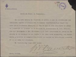 Carta de Juan Navarro Reverter al Conde de Romanones prometiendo apoyar la recomendación para un puesto en el ministerio a favor de Guillermo Fernández-Shaw.