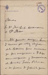 Carta del Marqués de Cortina a María Josefa Baldasano, mujer de Guillermo Fernández-Shaw, atendiendo una recomendación hecha por ella.