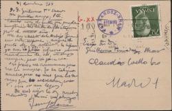 Tarjeta postal de Jesús Lara a Guillermo Fernández-Shaw, agradeciéndole su felicitación navideña.