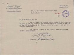 Carta de Enrique García Carretero a Guillermo Fernández-Shaw, adjuntando copia de la carta remitida por el primero al Delegado de la Sociedad General de Autores de España en Argentina sobre el asunto del cobro de unos derechos por la representación de varias obras de Guillermo Fernández-Shaw en aquel país.