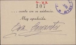 Tarjeta de Eva Cervantes invitando a un evento.