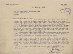 Carta de Vicente Moya a Guillermo Fernández-Shaw, sobre la solicitud que éste ha hecho para poner letra a una composición musical de Albéniz.