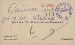 Tarjeta de visita de Javier María Cavanillas Prósper dando enhorabuena.