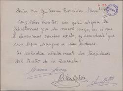Carta de Marina Correa, Pilar Cohen y L. Mateo, taquilleros del Teatro de la Zarzuela, a Guillermo Fernández-Shaw, felicitándole por su nombramiento como Director General de la Sociedad General de Autores de España.