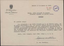 Carta del Sr. Castillo al Marqués de Lozoya, sobre los trámites para el visado de la Compañía de Arte Lírico dirigida por Guillermo Fernández-Shaw y Federico Romero.