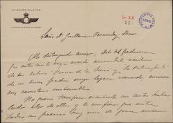 Carta de José Legurburu a Guillermo Fernández-Shaw, agradeciendo el envío de sus libros.