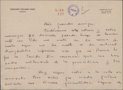 Carta de Fernando Vizcaino Casas a Guillermo Fernández-Shaw, comentándole que ha estado enfermo y enviándole las líneas prometidas.