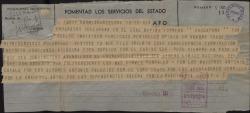 """Telegrama firmado en nombre de toda la compañía a Federico Romero, pidiéndole desista de la suspensión del estreno de """"La chulapona"""" por la aparición de un suelto insidioso en la prensa, por las consecuencias que conllevaría."""