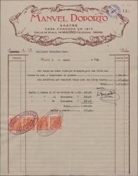 Factura de Manuel Doporto, sastre, a Guillermo Fernández-Shaw por la hechura de un traje y la modificación de otro.