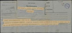 """Telegrama firmado por Luis Calvo en nombre de toda la compañía a Federico Romero, agradeciéndole haya desistido de la suspensión del estreno de """"La chulapona"""" por la aparición de un suelto insidioso en la prensa."""