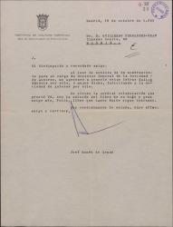 Carta de José Ruméu de Armas a Guillermo Fernández-Shaw, felicitándole por su nombramiento como Director de la Sociedad General de Autores de España.