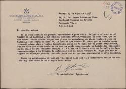 Carta de Rafael Spottorno a Guillermo Fernández-Shaw, pidiéndole una recomendación para una plaza de acomodador a favor de Segundo Sánchez Martín.