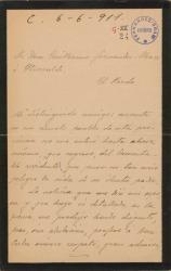Carta de Antonio Aguiar de la Morena a Guillermo Fernández-Shaw, interesándose por la salud de su padre, Carlos Fernández Shaw.
