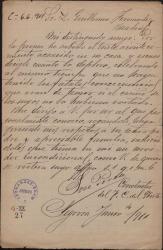 Carta de José Perea a Guillermo Fernández-Shaw, interesándose por la enfermedad de su padre, Carlos Fernández Shaw