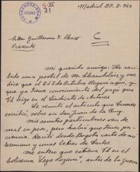 """Carta de Antonio S. de Jubera a Guillermo Fernández-Shaw, comentándole varios temas personales y pidiéndole entradas para el estreno de """"Loza lozana""""."""