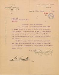 Carta de Ildefonso Alier y Manuel Penella a Guillermo Fernández-Shaw, solicitando una entrevista para cambiar impresiones sobre un tema de la Sociedad de Autores Españoles.