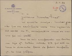 Carta de Luis París, a Guillermo Fernández-Shaw, agradeciendo su amable carta y ofreciéndose una vez mas para lo que necesite.