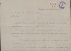 Carta de Margarita de Arbizu a Guillermo Fernández-Shaw, agradeciendo el libro enviado.