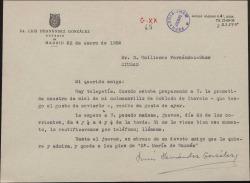 Carta de Luis Hernández González a Guillermo Fernández-Shaw, agradeciéndole su carta y citándole para días mas tarde.