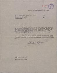 Carta de M. Bertrán a Guillermo Fernández-Shaw, dándole el pésame por la muerte de su hermano Juan Antonio.
