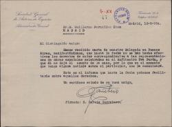 Carta de Enrique García Carretero a Guillermo Fernández-Shaw, sobre gestiones para el cobro de derechos de autor por unas representaciones en Argentina.