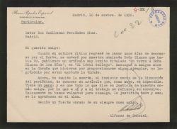 Carta de Alfonso de Gabriel a Guillermo Fernández-Shaw, agradeciéndole un artículo que ha publicado sobre Blanca de los Ríos, con términos muy elogiosos para áquel.