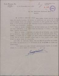 """Carta de Emilio Hernández Pino a Guillermo Fernández-Shaw, insistiendo en su petición de apoyo para la obtención del premio literario """"Lope de Vega""""."""
