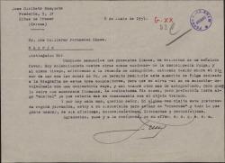 Carta de José Giribets Busquets a Guillermo Fernández-Shaw, pidiéndole un autógrafo.