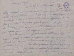 Carta de F. Pelayo a Guillermo Fernández-Shaw, sobre su trabajo y jubilación en la Sociedad General de Autores de España donde según comenta fue la primera mujer en entrar.