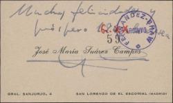 Tarjeta de visita de José María Suárez Campos a Guillermo Fernández-Shaw, con una felicitación navideña.