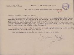 Carta de Antonio Reol Suárez a Guillermo Fernández-Shaw, agradeciéndole el envío de un poema suyo dedicado.
